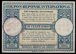 URUGUAY Lo15  20 CENTESIMOS  International Reply Coupon Reponse Vale-respuesta Antwortschein IAS IRC FRANQUEO O 25.6.53 - Uruguay