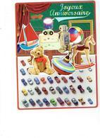 Double Cpm à étages  Joyeux Anniversaire Petite Voiture Jouet Cheval Bascule Toupie Robot Ours En Peluche  Tambour - Noël