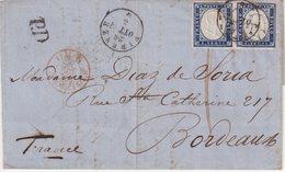"""SARDAIGNE : N° 12 . PAIRE . DE """" FLORENCE """" . POUR LA FRANCE . 1862 . - Sardegna"""