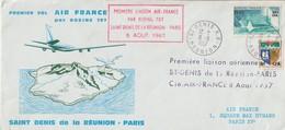 France 1967 Première Liaison Air France St Denis Réunion Paris - Covers & Documents