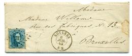 Belgique - COB 15 Sur Lettre De Roulers Vers Bruxelles - 6 Juil 1865 - 1863-1864 Medallones (13/16)
