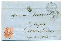Belgique - COB 16 Sur Pli De Liège à Noyon (Oise, France) - 13 Sept 1864 - 1863-1864 Medaillen (13/16)