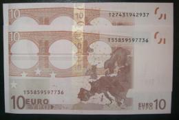 2x 10 EURO K007B2 Ireland  Same Code Trichet And Draghi Perfect UNC - EURO