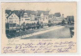 Gruss Aus Riedlingen - Partie An Der Donaubrücke - Briefmarke M Firmenlochung - 1901          (A-184-191005) - Sonstige