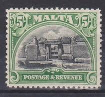 MALTA 1930 5s SG 208 LIGHTLY MOUNTED MINT - A KEY VALUE OF THE SET - Cat £55 - Malta