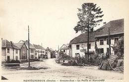 CARTE POSTALE ORIGINALE ANCIENNE : MONTECHEROUX GRANDE RUE LA POSTE ET L'ABREUVOIR DOUBS (25) - Francia