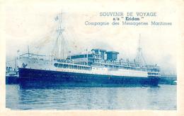 Carte 1930 SOUVENIR DE VOYAGE S/S ERIDAN - BATEAU COMPAGNIE MESSAGERIES MARITIMES - Dampfer