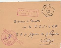 Lettre Franchise  Cachet BAN OFFICIEL LARTIGUE + LARTIGUE Oran 6/1/1960 Algérie - Marcophilie (Lettres)