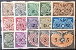 GENERALGOUVERNEMENT 1940 - MNH - Mi 1-15 - Portomarken - Complete Set! - Ocupación 1938 – 45