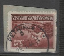 ☀CROATIA Kroatien NDH, PETRINJA 5 Postmark 1944,bfstk, Piece On Paper Landscapes, !A - Croatia