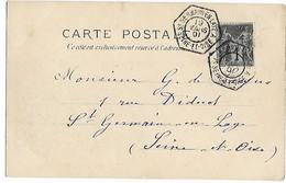 ST GERMAIN EN LAYE Seine Et Oise Cachet Octogonal Bureau Annexe Type D - A- Sur 1c Sage 1901 Cpa  Ml Jourdan   ....G - Postmark Collection (Covers)