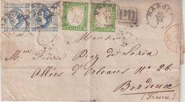 """ITALIE : AFFRANCHISSEMENT à 40 Cts . DE """" NAPLES """" . POUR LA FRANCE . B . 1863 . - 1861-78 Vittorio Emanuele II"""