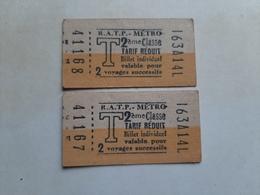 Lot 2 Tickets Métro  RATP Paris 2e Classe Billet Individuel - Métro