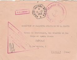 Lettre Franchise Griffe ER L AGENAIS + Cachet Marine Nationale + Porte Avions Béarn 15/12/1958 - Postmark Collection (Covers)