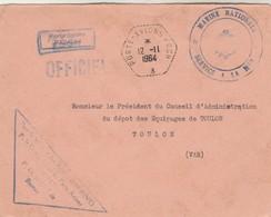 Lettre Franchise Griffe Porte Avions FOCH + Cachet Marine Nationale + Porte Avions FOCH 12/11/1964 - Poste Navale