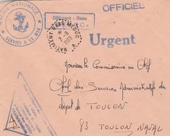 Lettre Franchise Urgent Griffe Bâtiment Base Médoc + Cachet Marine Nationale + BATIMENT BASE MEDOC 7/8/1969 - Postmark Collection (Covers)