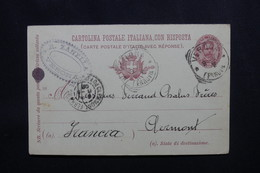 ITALIE - Entier Postal + Réponse De Verona Pour La France En 1902 - L 54138 - 1900-44 Victor Emmanuel III