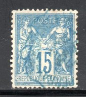 YT 90 OBLITERATION CAD BLEUE - 1876-1898 Sage (Tipo II)