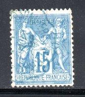 YT 101 OBLITERATION CAD BLEUE (PAPIER QUADRILLE) - 1876-1898 Sage (Tipo II)
