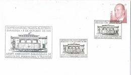 35826. Carta ZARAGOZA 2002. Ferrocarril, Centenario Tranvia Electrico - 1931-Hoy: 2ª República - ... Juan Carlos I