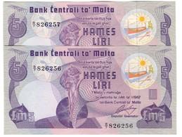 Malta 5 Liri 1967/1979 Pick 35A (Without Dot) AUNC (Price For 1 Banknote) - Malta