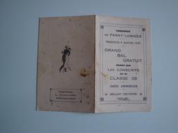 Carte D'invitation Au Grand Bal Donné Par Les Conscrits De Paray-Loriges Le 8 Janvier 1939 - Faire-part