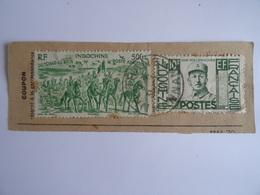"""INDOCHINE - POSTE AERIENNE - SUR COUPON DE MANDAT (DOS) 2 TIMBRES """"du Tchad Au Rhin"""" 50c 1946 - VAN VOLLENHOVEN 1944 - Airmail"""