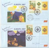 ORGANIZATIONS, SCOUTS, SCUTISME, SCOUTS CENTENARY, COVER STATIONERY, ENTIER POSTAL, OBLIT FDC, 2X, 2007, ROMANIA - Brieven En Documenten