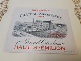 Vieille étiquette St-EMILION 1er GRAND CRU CLASSE Château SANSONNET 1921 - Bordeaux