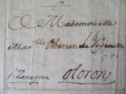 """France - Lettre Valence (Espagne) Vers Oloron - Cachet Noir """"VALENCIA"""" + Taxe 14 - Décembre 1773 - Marcophilie (Lettres)"""