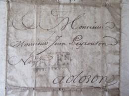 """France - Lettre Valence (Espagne) Vers Oloron - Cachet Noir """"VALENCIA"""" - Avril 1753 - Marcophilie (Lettres)"""