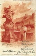"""6596 """" AUF DER MAINBRUCKE ZU WURZBURG-HERZLICHE GLUCKWUNSCHE ZUM JAHRESWECHSEL""""-CART. POST. ORIG.  SPED.1904 - Wuerzburg"""