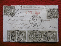 LETTRE CHARGE GRILLE ROUGE 9 TIMBRES TYPE SAGE 1 FR VALEUR 4000 FRANCS 1877 CACHET BEZIERS - Postmark Collection (Covers)