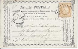 LT4874  N°59/carte Postale, Oblit GC 1457 Exideuil, Dordogne (23) Pour Périgueux, Dordogne (23), Cachet à Date Type 16 - 1871-1875 Cérès