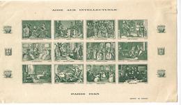 Paris,monuments;Aide Aux Intellectuels 12 Vignettes** Non Dentelé Dans 1 Bloc  De Couleur Verte - Altri