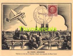 CPA LA POSTE AERIENNE 1943 GRAVURE SUR BOIS S DUPLESSIS RENE COTTET - Airmail