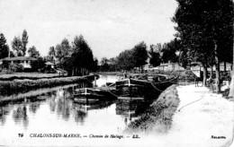 CHALONS SUR MARNE CHEMIN DE HALAGE ,JOLI PLAN PENICHE REF 62896 - Chiatte, Barconi