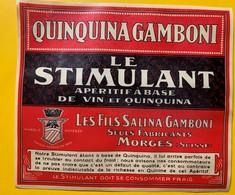 12327 - Qunquina Gamboni Le Stimulant Les Fils Salina-Gamboni Morges Ancienne étiquette - Etiketten