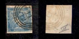ANTICHI STATI ITALIANI - LOMBARDO VENETO - 1851 - 3 Cent (3 - Giornali) Usato A Genova - Cornice Rotta Sopra N (500+) - Non Classificati