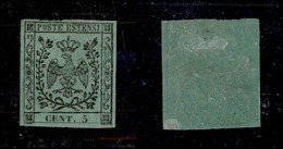 ANTICHI STATI ITALIANI - MODENA - 1852 - 5 Cent (1) - Molto Fresco - Cert. AG (6.500) - Non Classificati