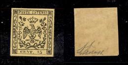 ANTICHI STATI ITALIANI - MODENA - 1852 - 15 Cent (3) - Molto Bello - Diena + G. Bolaffi (150) - Non Classificati