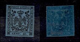 ANTICHI STATI ITALIANI - MODENA - 1854 - 40 Cent (10) - Gomma Integra - G. Bolaffi (200) - Non Classificati