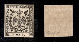 ANTICHI STATI ITALIANI - MODENA - 1853 - 1 Lira (11) Con Cornice Rotta Sopra Estensi E Filigrana Capovolta Invertita - G - Non Classificati