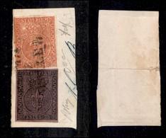 ANTICHI STATI ITALIANI - PARMA - Bicolore Mista - 25 Cent (4) + 15 Cent (7) Su Frammento - Ottimi Margini - Rara Combina - Non Classificati