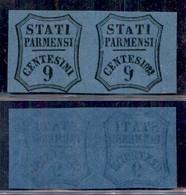 ANTICHI STATI ITALIANI - PARMA - 1857 - Non Emessi - Coppia Del 9 Cent (2A/2Ab - Segnatasse Giornali) - Esemplare Di Des - Non Classificati
