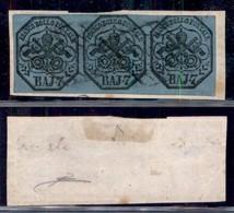 ANTICHI STATI ITALIANI - PONTIFICIO - 1852 - Striscia Di Tre Del 7 Baj (8) Su Frammento - Cert Diena (800) - Non Classificati