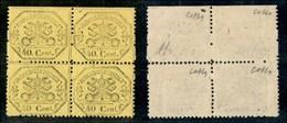 ANTICHI STATI ITALIANI - PONTIFICIO - 1868 - 40 Cent (29 + 29n) In Quartina (tassata In Alto/bordo Foglio) Con Salto Di  - Non Classificati