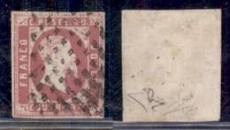 ANTICHI STATI ITALIANI - SARDEGNA - 1851 - 40 Cent Rosa Carminio Vivo (3a) - Usato - Cert Diena (12500) - Non Classificati