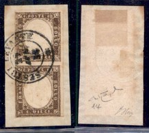 ANTICHI STATI ITALIANI - SARDEGNA - Coppia Del 10 Cent (14) Su Frammento - Sestri Levante 29.4.58 - Raybaudi (1700) - Non Classificati