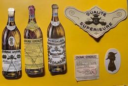 12328 -  Cognac Gonzalez & Amiral Petites étiquettes Anciennes En Forme De Bouteilles - Etiquettes